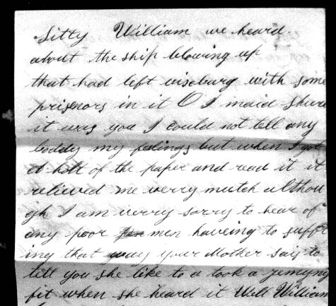 detail of a letter from nancy colvin brown to her husband william laban brown in which she refers to the ship blowing up that had had left vicksburg with